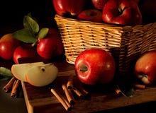 Manzanas con los palillos de cinamomo Fotografía de archivo libre de regalías