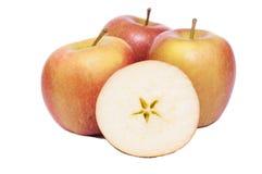 Manzanas de Braeburn en un fondo blanco foto de archivo