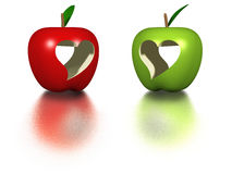 Manzanas de la tarjeta del día de San Valentín Fotografía de archivo