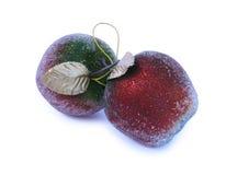 Manzanas de las decoraciones del árbol de navidad Fotografía de archivo