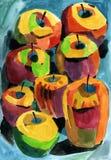 Manzanas del Watercolour Fotos de archivo libres de regalías
