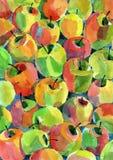 Manzanas del Watercolour Imagen de archivo libre de regalías