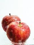 Manzanas en agua Imagenes de archivo