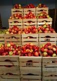 Manzanas en cajas de madera Fotografía de archivo