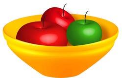 Manzanas en gráfico del tazón de fuente   imagen de archivo libre de regalías