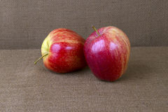 Manzanas en la arpillera Fotos de archivo
