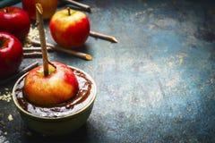 Manzanas en la capa del chocolate con los palillos en fondo rústico Fotos de archivo libres de regalías