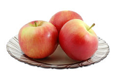 Manzanas en la placa Imagen de archivo