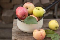 Manzanas en un pote del esmalte en un fondo natural de madera Imagen de archivo