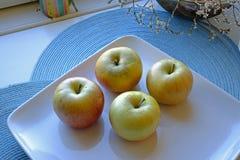 Manzanas en una placa de cerámica en paisaje de par en par fotografía de archivo libre de regalías