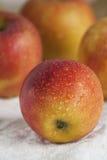 Manzanas en una toalla de cocina Imagen de archivo