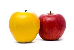 Manzanas frescas amarillas y rojas Imagen de archivo libre de regalías