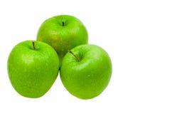 Manzanas frescas del primer con gotas del agua Imagen de archivo