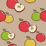 Manzanas frescas fondo, iconos exhaustos de la mano Vector colorido del papel pintado Modelo inconsútil con la colección de las f ilustración del vector