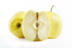 Manzanas 'golden delicious' en el fondo blanco Imágenes de archivo libres de regalías