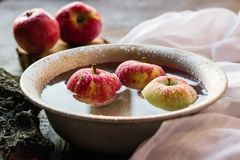 Manzanas maduras en un cuenco de agua Fotos de archivo libres de regalías