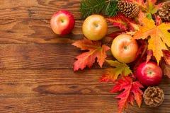 Manzanas maduras rojas y hojas de otoño brillantes Foto de archivo libre de regalías