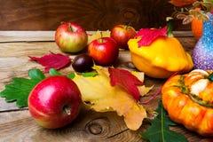 Manzanas maduras y calabaza amarilla con las hojas, cierre para arriba Imágenes de archivo libres de regalías
