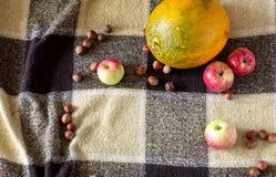 Manzanas, melón y nueces en el fondo Foto de archivo
