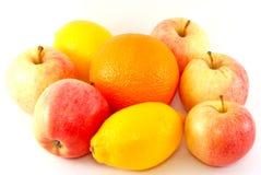Manzanas, naranja y limón Fotografía de archivo