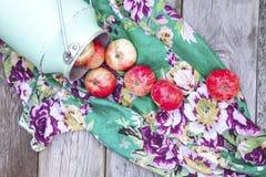 Manzanas orgánicas en la tabla de madera Foto de archivo