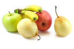 Manzanas, peras y plátanos del bebé imagenes de archivo