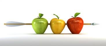 Manzanas perforadas Imágenes de archivo libres de regalías