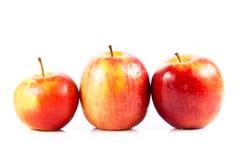 Manzanas rojas aisladas en la verdura blanca del fondo y las frutas helthy de la comida Imagen de archivo