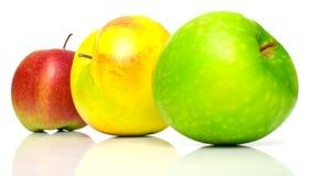 Manzanas rojas, amarillas y verdes Imagen de archivo libre de regalías
