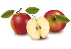 Manzanas rojas con las hojas. Fotografía de archivo