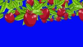 Manzanas rojas de la historieta que crecen de ramas en un fondo de pantalla azul libre illustration
