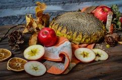 Manzanas rojas del otoño del vintage en fondo de madera Imagenes de archivo