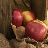 Manzanas rojas en el ajuste rústico de la cocina con la viejos caja de madera y hes Foto de archivo libre de regalías