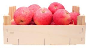 Manzanas rojas en rectángulo de madera Foto de archivo libre de regalías