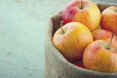Manzanas en una cesta con corregir del vintage Foto de archivo