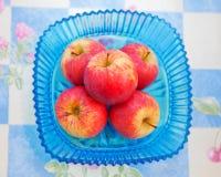 Manzanas rojas en un tazón de fuente azul Fotos de archivo libres de regalías