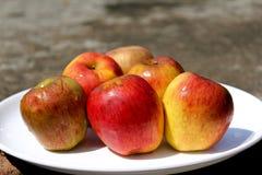 Manzanas rojas en una placa blanca fotografía de archivo