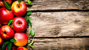 Manzanas rojas frescas con las hojas verdes en la tabla de madera Fotografía de archivo