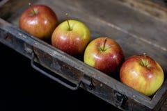 Manzanas rojas grandes en una caja de madera oscura Cajón de madera y manzanas encendido Fotografía de archivo