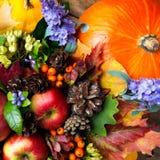 Manzanas rojas maduras y flores azules, visión superior Foto de archivo libre de regalías