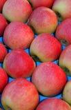 Manzanas rojas pila de discos Fotografía de archivo