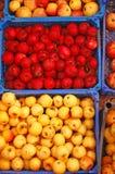 Manzanas rojas y amarillas en cajas Fotografía de archivo libre de regalías