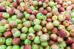 Manzanas rojas y verdes en el mercado de los granjeros Foto de archivo libre de regalías