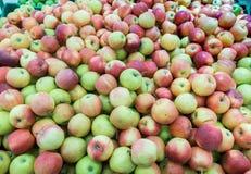 Manzanas rojas y verdes en el mercado de los granjeros Fotografía de archivo libre de regalías