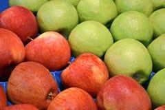 Manzanas rojas y verdes frescas en el envase, alimento, Fotos de archivo