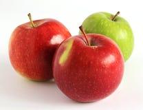 Manzanas rojas y verdes frescas en un fondo blanco Imágenes de archivo libres de regalías