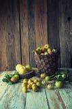 Manzanas salvajes y peras en cesta Fotografía de archivo libre de regalías