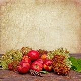 Manzanas texturizadas caída del fondo Fotografía de archivo