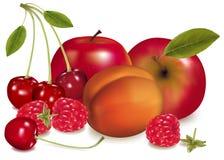 Manzanas, un melocotón, cerezas y frambuesas. Imágenes de archivo libres de regalías