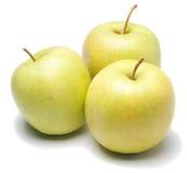 Manzanas verdes aisladas en blanco fotografía de archivo